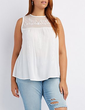Plus Size Embroidered Keyhole Tank Top