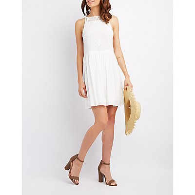 Crochet Bust Skater Dress