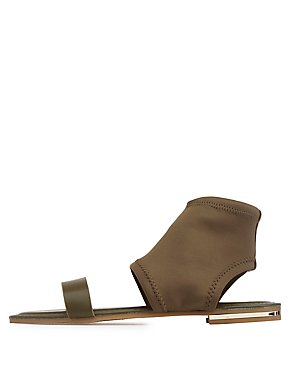 Bamboo Faux Leather & Microkint Bootie Sandals