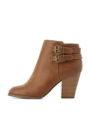 Buckled Faux Leather Ankle Booties