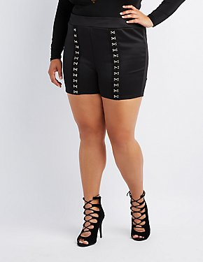 Plus Size Hook-And-Eye High-Rise Shorts