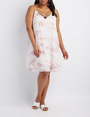 Plus Size Tie Dye Strappy Shift Dress