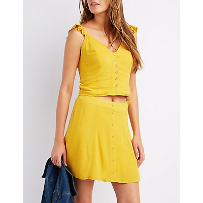 Ruffle-Trim Button-Up Tank Top
