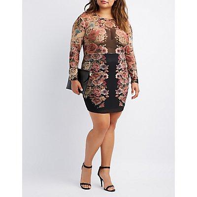 Plus Size Floral Mesh Bodycon Dress