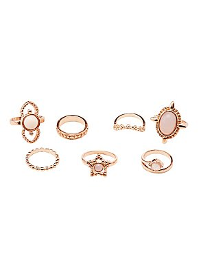 Embellished Stacking Rings -7 Pack