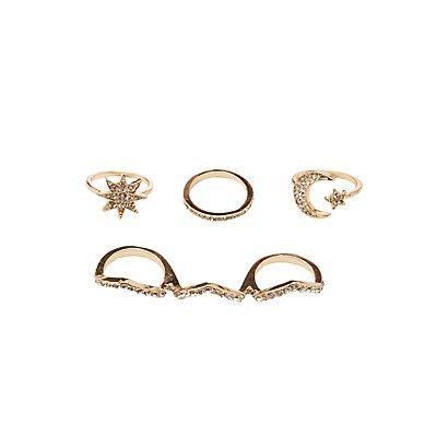 Embellished Stacking Rings - 4 Pack