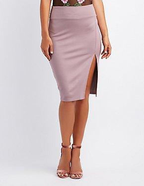 Slide Slit Bodycon Skirt