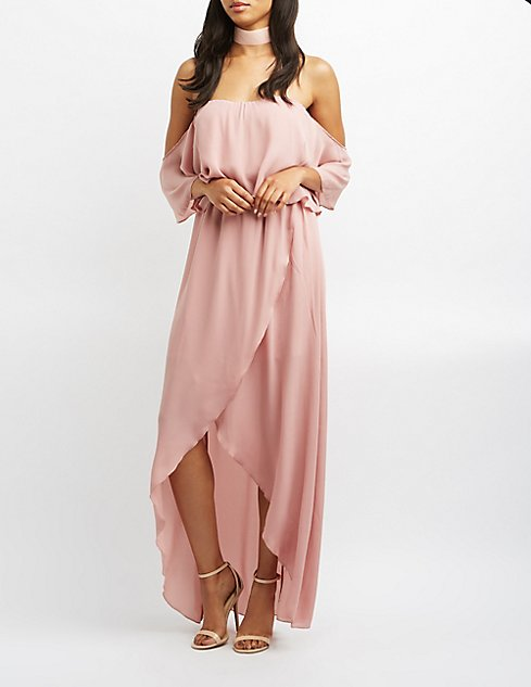 e7dfee6f4cd Off-The-Shoulder Maxi Wrap Dress ( 49.99 at Charlotte Russe)