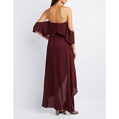 Off-The-Shoulder Maxi Wrap Dress