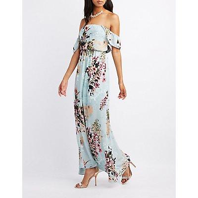 Floral Ruffle Off-The-Shoulder Maxi Dress