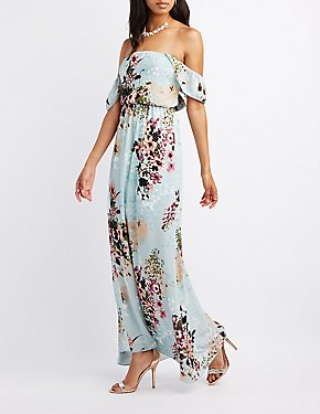 Floral Ruffle Off-The-Shoulder Maxi Dress