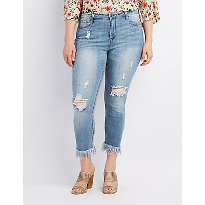 Plus Size Cello Frayed Hem Destroyed Skinny Jeans | Charlotte Russe