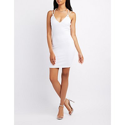 Ribbed Strappy-Back Bodycon Dress