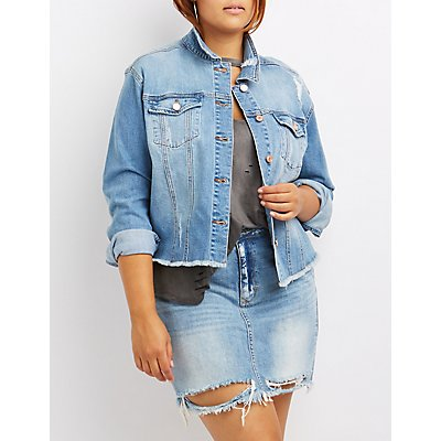 Plus Size Refuge Distressed Cut-Off Denim Jacket