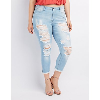 Plus Size Frayed Hem Destroyed Skinny Jeans