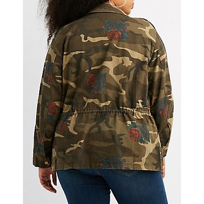 Plus Size Floral & Camo Print Anorak Jacket