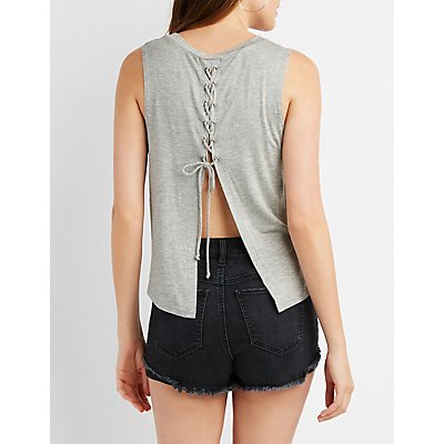 Lace-Up Back Flyaway Muscle Tee