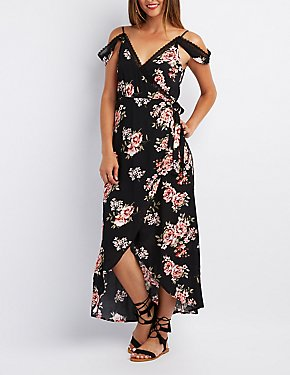 Floral Lace-Trim Cold Shoulder Wrap Dress