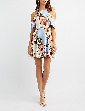 Floral Ruffle Cold Shoulder Skater Dress