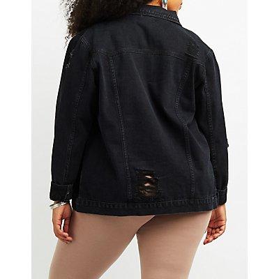Plus Size Refuge Destroyed Denim Jacket