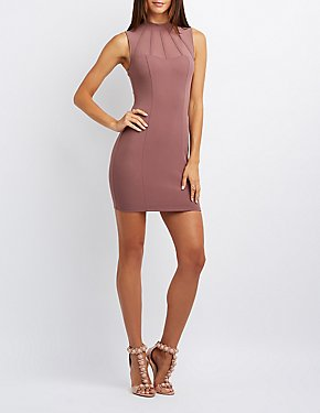 Caged Mesh-Trim Bodycon Dress