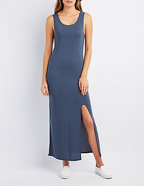 Scoop Neck Slit Maxi Dress