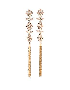 Crystal & Tassel Chandelier Earrings