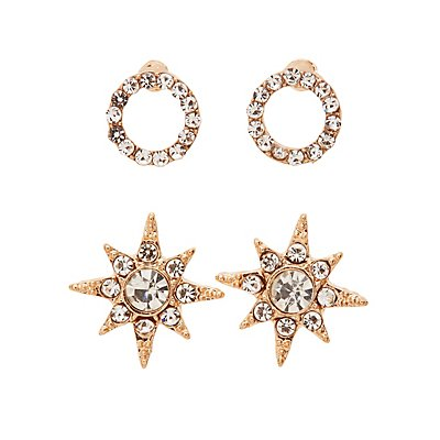 Embellished Chandelier & Stud Earrings - 3 Pack