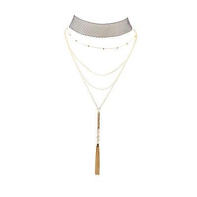 Polka Dot & Layered Choker Necklaces - 2 Pack