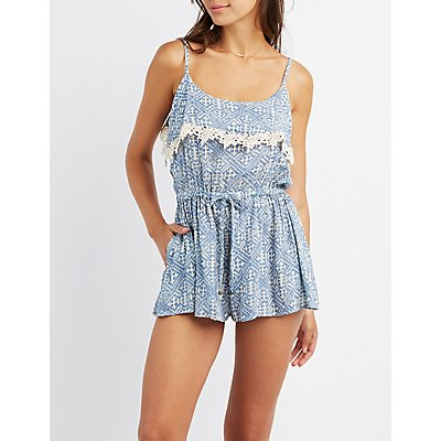 Printed Crochet-Trim Romper