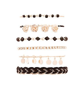 Rose Embellished Layering Bracelets - 6 Pack