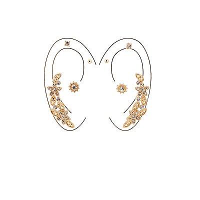 Embellished Ear Crawler & Stud Earrings -4 Pack