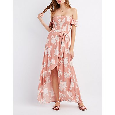 Floral Smocked Off-The-Shoulder Maxi Dress