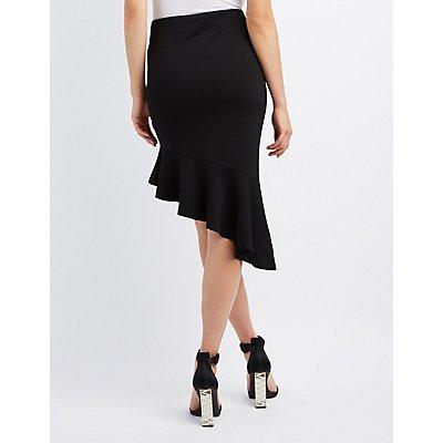 Asymmetrical Ruffle Pencil Skirt