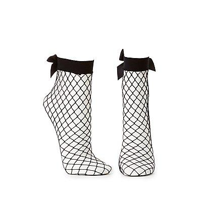 Fishnet Bow Ankle Socks
