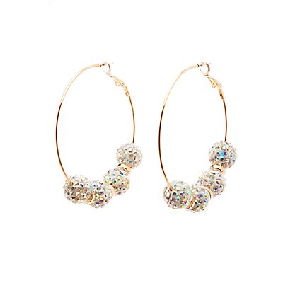 Rhinestone Fireball Hoop Earrings