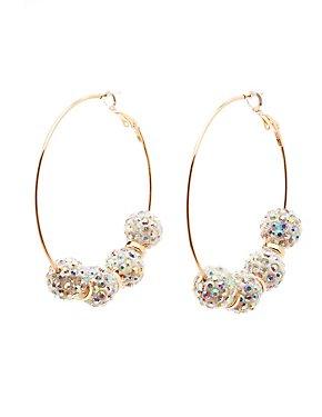 Rhinestone Fireball Hoop Earrings