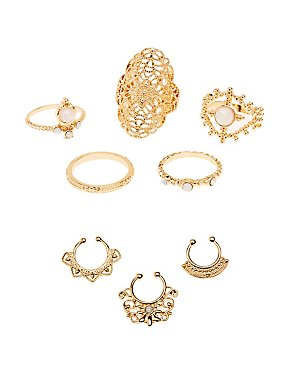 Filigree Faux Septum & Statement Rings Set