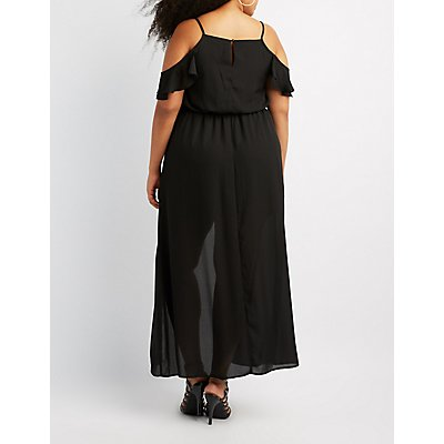 Plus Size Ruffle Cold Shoulder Maxi Romper