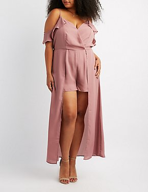 Plus Size Cold Shoulder Maxi Romper