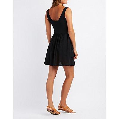 Lace-Trim Button-Up Skater Dress
