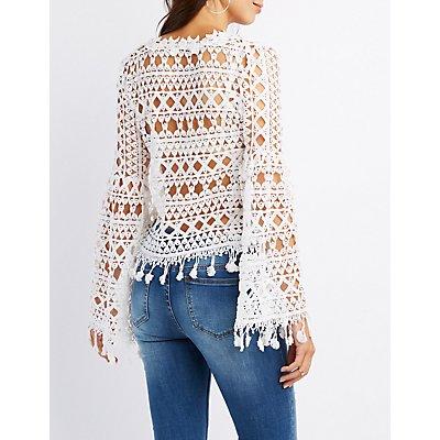 Crochet Bell Sleeve Tassel Top