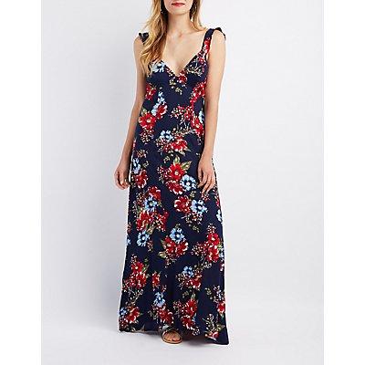 Floral Tie-Back Maxi Dress