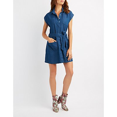 Chambray Button-Up Shift Dress