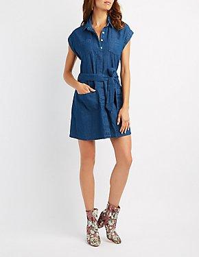 Chambray Button-Up Shift Dress