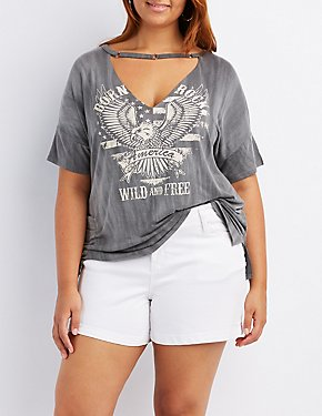 Plus Size America Graphic Cut-Out Tee