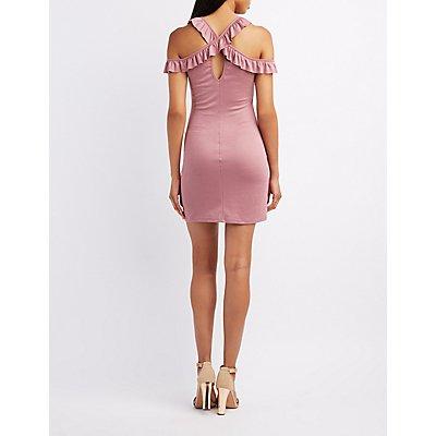 Halter Ruffle-Trim Cold Shoulder Dress