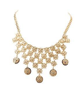 Coin & Filigree Bib Necklace