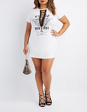 Plus Size Graphic Lace-Up T-Shirt Dress