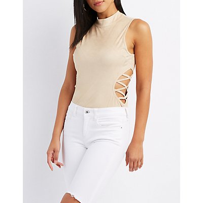 Faux Suede Lattice-Inset Bodysuit